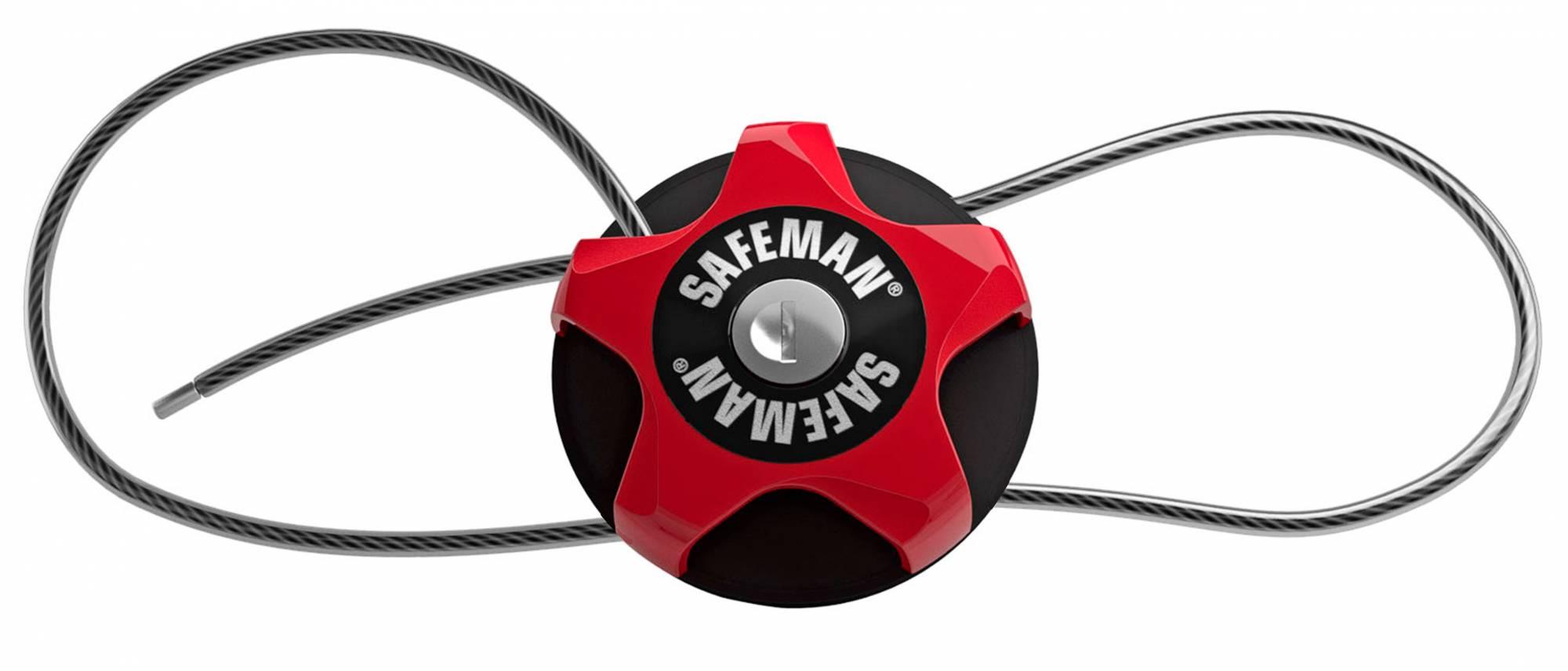 De Safeman heeft een 4mm dikke edelstalen kabel met een lengte van 75 cm.
